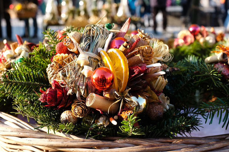 Close-Up Of Christmas Decorations In Wicker Basket