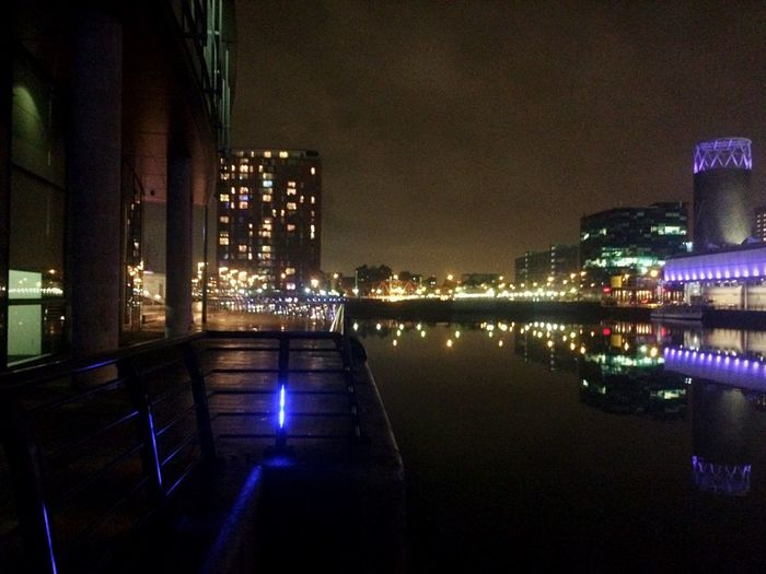 Nightphotography Night Lights Water Reflections Taking Photos Buildings Salford Quays