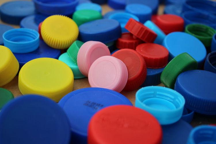 Full frame shot of colorful bottle caps