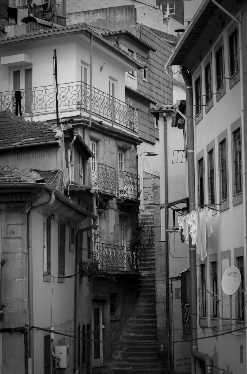 building exterior, architecture, built structure, residential building, house, window, staircase, steps, balcony, steps and staircases, outdoors, no people, day, fire escape, sky