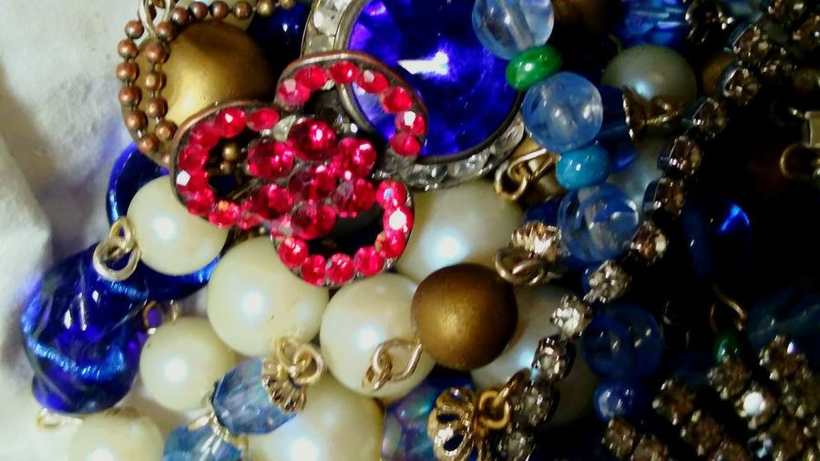 Red white blue. No People Close-up Shiny Jewelry Indoors  bijou Abstract Artofvisuals Illuminated Blue Reflection Beauty In Things Diamonds And Pearls Multi Colored Large Group Of Objects Necklace Bead Variation Indoors