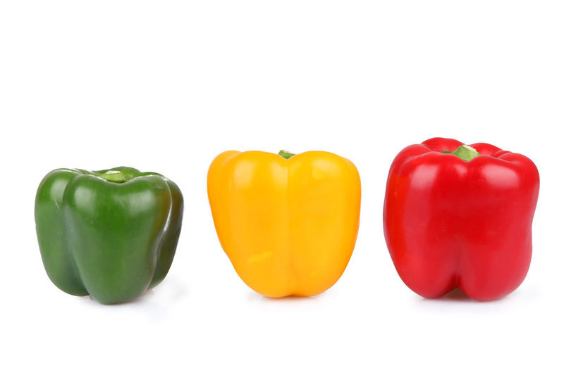 Bell Pepper Close-up Cut Out Day Food Food And Drink Freshness Green Bell Pepper Green Color Healthy Eating Indoors  No People Paprica Pepper - Vegetable Red Red Bell Pepper Still Life Studio Shot Vegetable White Background Yellow Yellow Bell Pepper
