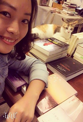 Selfie With A Cat That's Me Books And Coffee Chinese Girl Relaxing
