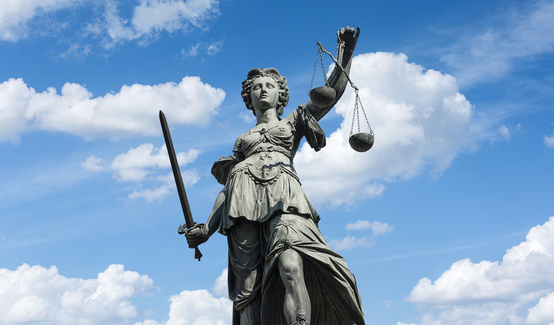 The Statue of Justice - lady justice or Iustitia the Roman goddess of Justice Crime Frankfurt Government Jury Lady Justice Lady Justice Statue Lawyer Scale  Blue Blue Sky Cloud - Sky Clouds Clouds And Sky Courtroom Dramtic Dramtic Clouds Human Representation Judge Judgement Justice Law Outdoors Sculpture Sky Statue
