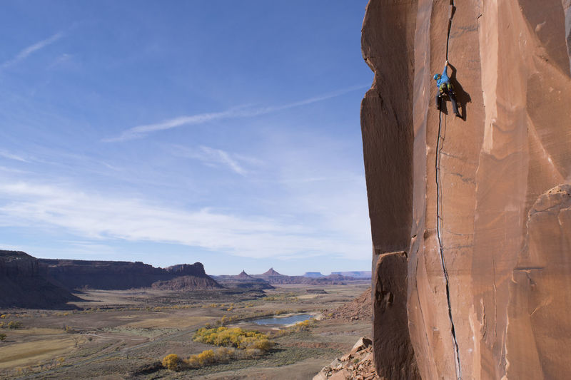 I've seen so many photos of Indian Creek over the years, but I never really understood the place until now. You drive into this infinite landscape and can't help but see potential in it, in yourself. Here's Paddy O'Mara discovering his potential on Scarface, 5.11. Bears Ears National Monument Climb EyeEmNewHere Hiking Nature Nikon Rock Travel Utah Adventure Cliff Climbing Crack Climbing Explore Extreme Sports Hike Indian Creek Landscape Outdoors Photography Public Land Rock Climbing Sandstone Sport Wild