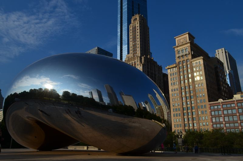 Chicago Architecture Reflection Bean Building Exterior Cloud Gate Modern No People Sky