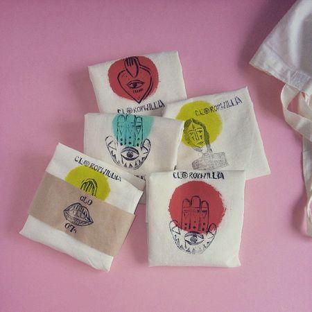 Shopping bag Clorophilla handprinted Clorophillaart Manofatima Shoppingbag Stamp handstamp illustration fabric textile