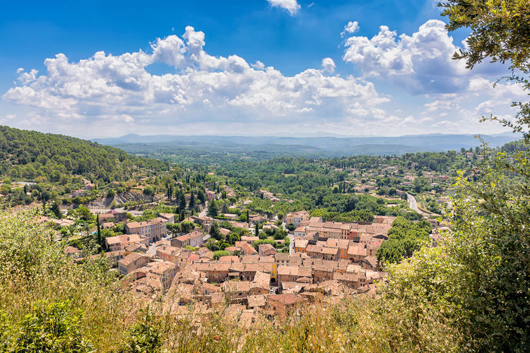 High angle view of townscape against sky in south of france