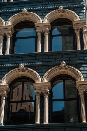 Architecture New York City Windows View Blue Sky Building Exterior