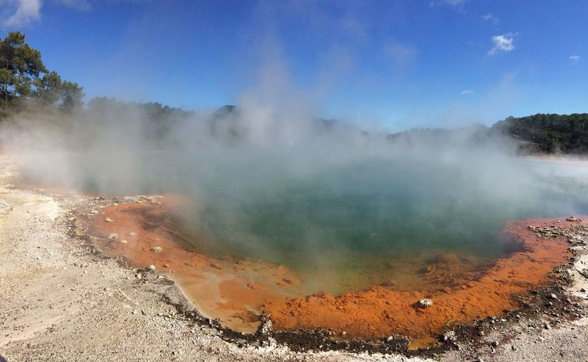 Geothermal wonderland Largest Sinter Terrace In The Southern Hemisphere Beauty In Nature Geology Geyser Heat - Temperature Hot Spring Landscape Nature No People Outdoors Physical Geography Smoke - Physical Structure Steam Water