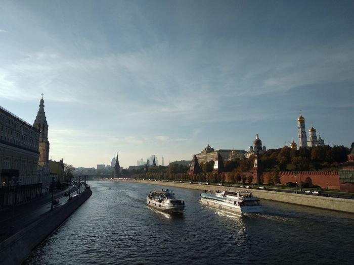 Kremlin Architecture Russia River Ship Shipping  Autumn Kremlin City Cityscape Urban Skyline Politics And Government Water Bridge - Man Made Structure River Sky Architecture Building Exterior Clock Tower Boat Tower Skyscraper Skyline