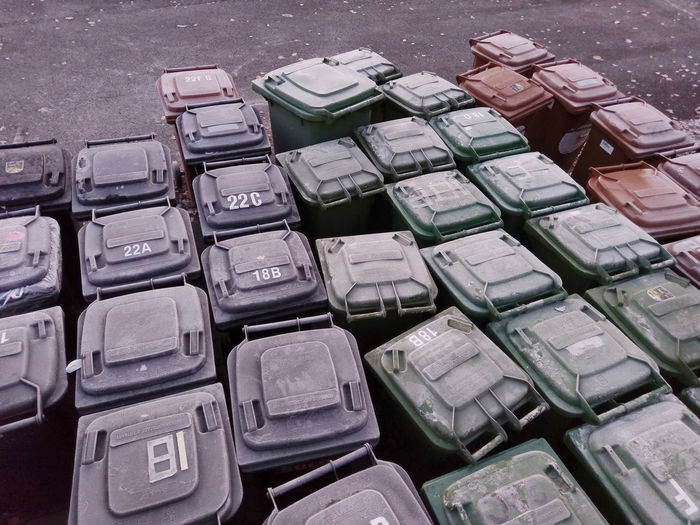 High angle view of garbage cans