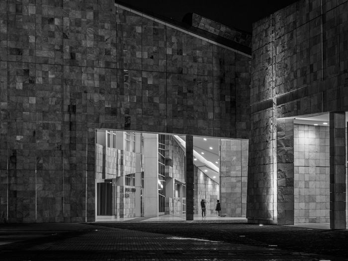 Ciudad de la Cultura Nightphotography Architectural Column Architecture Blackandwhite Building Exterior Built Structure Indoors  Night No People Walls HUAWEI Photo Award: After Dark