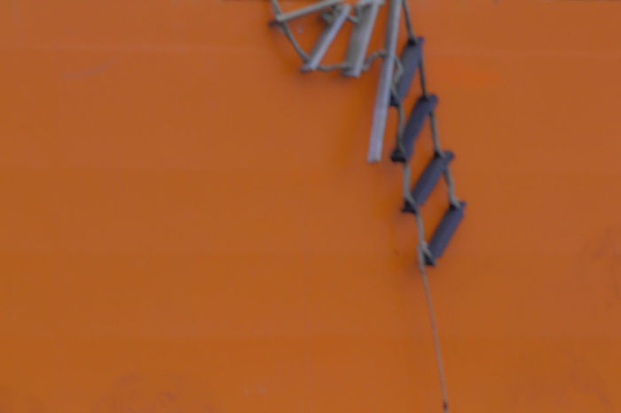 """""""Don't come up this way"""" (c) 2017 buchtman by design Back Backgrounds Blury Broken Close-up Day Ladder No People Orange Background Orange Color Outdoors Rope Ladder"""