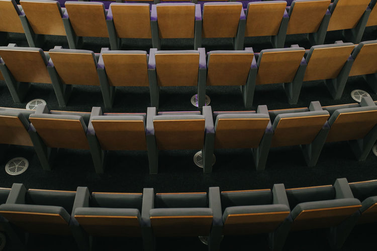 Seat Seats Audience Arrangement Order Absence Repetition Large Group Of Objects Auditorium Side By Side Indoors  Empty In A Row Chair No People