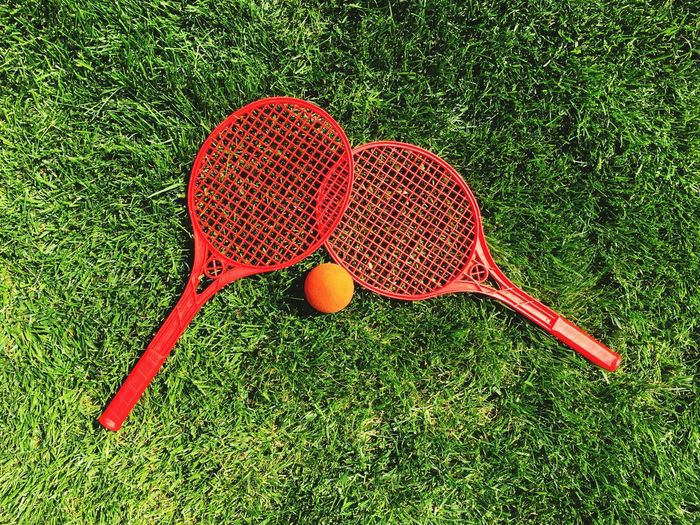 Bird Perspective Grassy Meadow No People Plant Ball Leisure Activity Tennis Red Activity Racket Outdoors Still Life Sports Equipment Directly Above The Still Life Photographer - 2018 EyeEm Awards
