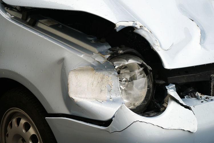 Accident Auto Battered Broken Car Car Crash Car Wreck Close-up Damaged Day Dented Detail Fender Bender Headlight Mode Of Transport No People Transportation