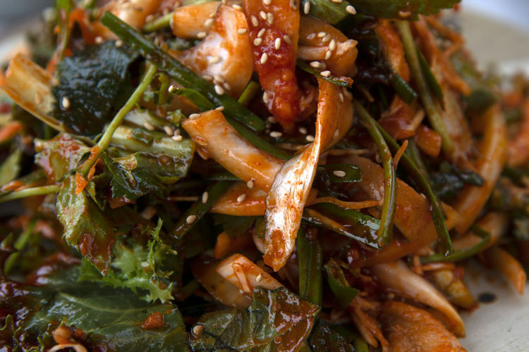 spicy raw fish salad (hoe-muchim) of large-eyed herring at a restaurant in Seokmodo, Gimpo, Gyeonggido, South Korea Dish Spicy Baendaengie Hoemuchim Close-up Dinner Focus On Foreground Food Food And Drink Freshness Garnish Healthy Eating High Angle View Hoe-muchim Hoemuchim Indoors  Indulgence Meal Meat No People Plate Ready-to-eat Seafood Selective Focus Serving Size Spicy Raw Fish Salad Still Life Temptation Vegetable Wellbeing