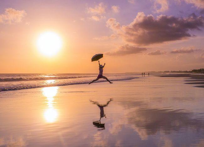 my wife rather enjoys sunset walks along Kuta beach in Bali The Amazing Human Body Capturing Freedom Landscape Reflections Bali Sunset Barefoot Beach Capture The Moment