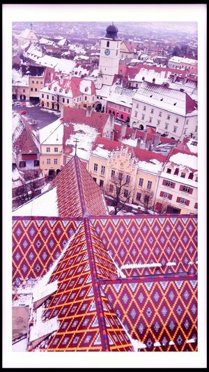 Been There. Architecture Aerial View Cityscape Sibiu, Romania Outdoors No People BeenThereDoneThat Church Architecture Pattern Over The Roofs Cityexplorer Snowy Rooftops