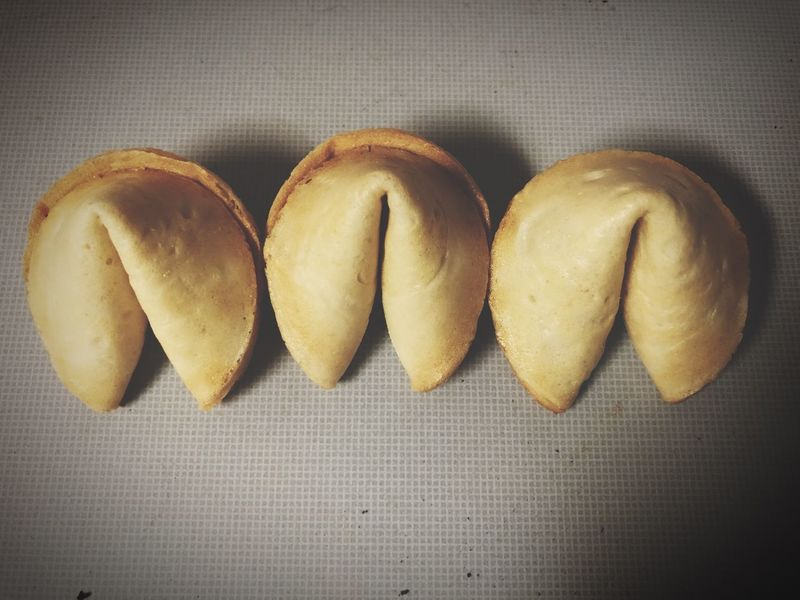 Fortune cookies EyeEm Selects Simple Copy Space Still Life Food And Drink Indoors  Food Freshness Table Close-up No People Directly Above Baked Group Of Objects Ready-to-eat Side By Side Cookie Heart Shape Temptation Indulgence