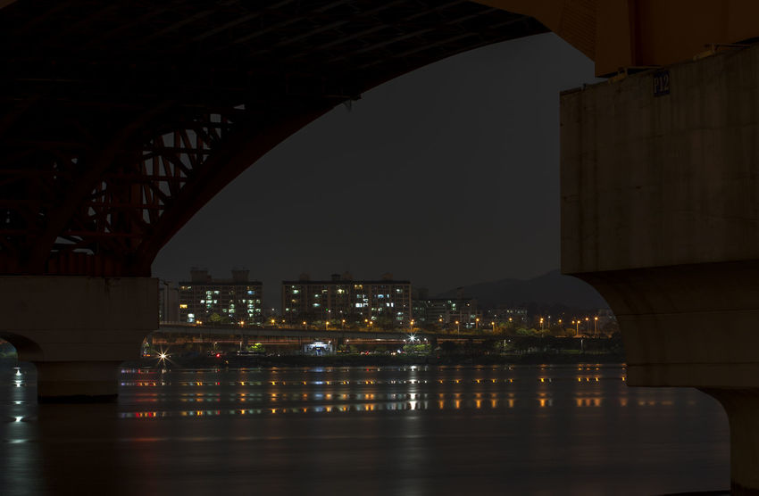 Arch Architecture Bridge Bridge - Man Made Structure Built Structure Capital Cities  City City Life Cityscape Connection Engineering Han River Hangang Illuminated Modern Night Night View No People River Seongsandaegyo Sky Tourism Tranquility Travel Destinations Under The Bridge