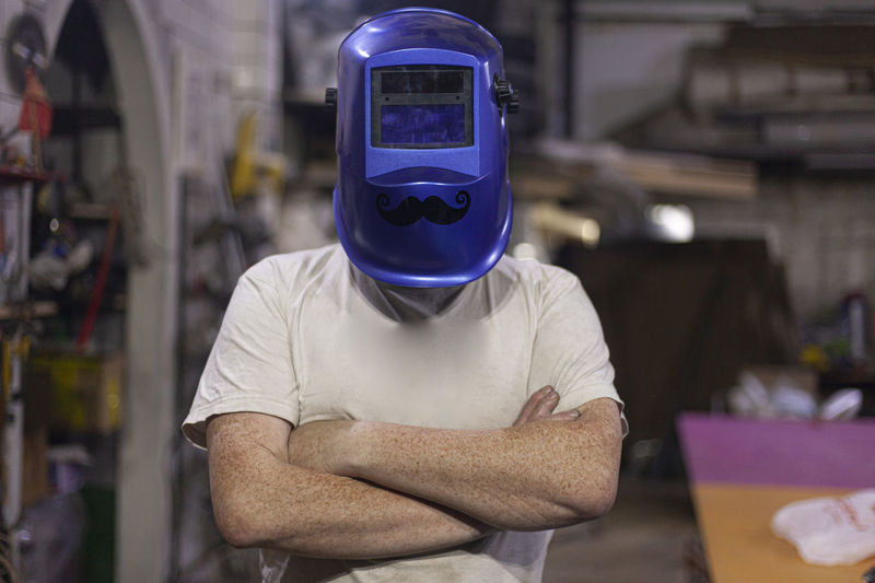 Cheerful welder