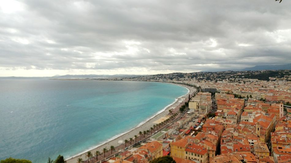 A cloudy day in paradise. Ocean Landscape Mediterranean Seascape Nice, France Horizon Over Water No People Traveling The World Vacation Destinations Historic Landscapes Travel Photography France High Angle View Of Nice, France Cloudy Day Over Blue Waters
