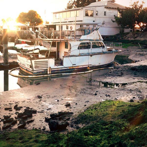 Old Rusty Broken Beat Up Worn Down Weathered Boat Dock Pier Marina