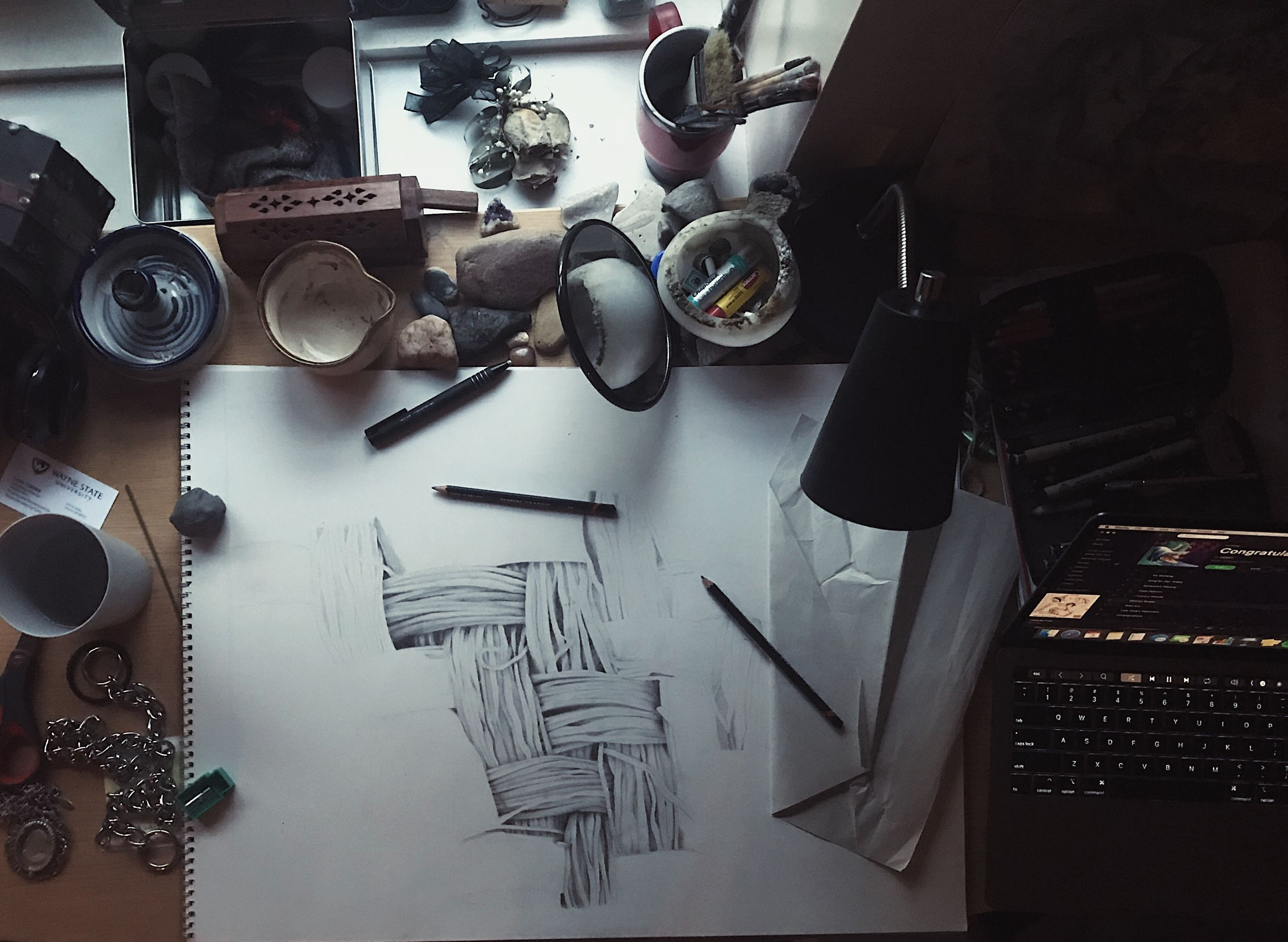 table, indoors, large group of objects, high angle view, still life, no people, equipment, art and craft, choice, paper, variation, creativity, pen, technology, furniture, fashion, craft, scissors, thread, day