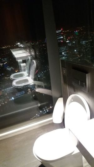 Toilet Art No People Illuminated Night Indoors  Skyscraper Toilet View London Shard London Height Scary Places Odd Surprise Privacy? Window Reflection