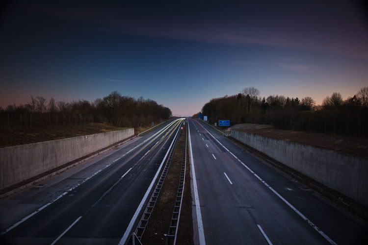 View of highway at sunset