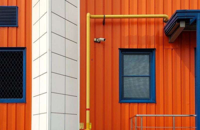 Multi Colored Full Frame Red Residential Building Façade Backgrounds Window Pipe - Tube Door House
