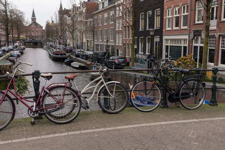 Bicycles parked in town