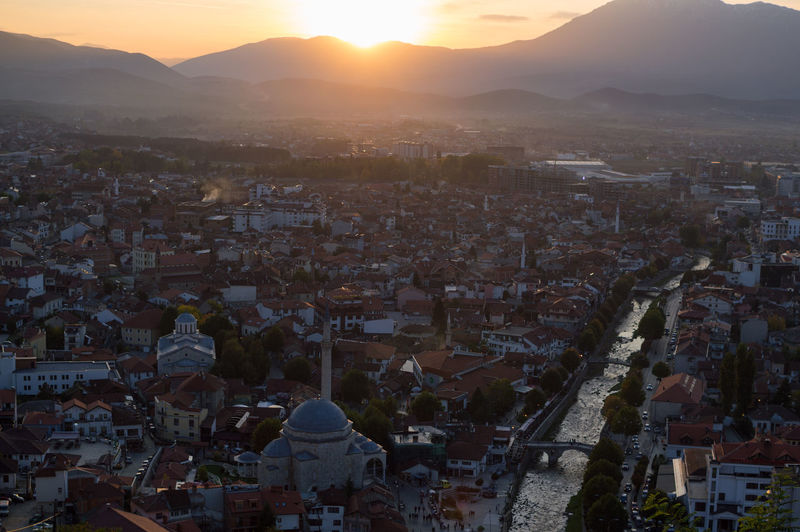 Sunset View from Prizren Fortress, Kosovo Balkan Eastern Europe Kosovo Architecture Building Exterior Built Structure City Cityscape Crowded Day Fortress High Angle View Mountain Nature Outdoors Prizren Sky Sunset