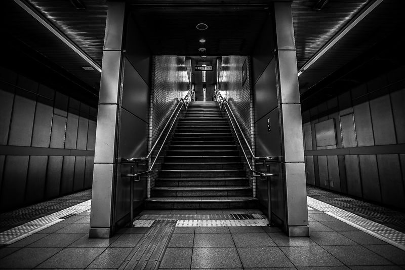 Steps The Way Forward Built Structure Indoors  Architecture Staircase Steps And Staircases Illuminated Day City No People Monochrome Blackandwhite Streetphotography EyeEm Masterclass EyeEm Best Shots Tranquility Empty Lines Angles Perspective Black And White Friday Black And White Friday