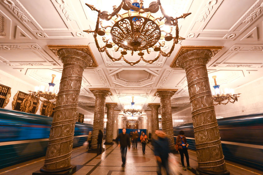 Metro station in Moscow Adult Adults Only Architectural Column Architecture Building Feature Built Structure Chandelier City Day Indoors  Luxury Metro Station Modern Moscow People Shopping Mall Soviet Art Soviet Era Store Travel Destinations Underground Station  Walking