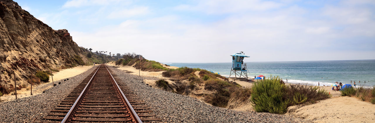 Panoramic view of railroad tracks by sea against sky