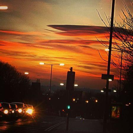 Sunset Orange Color Cloud - Sky Outdoors Illuminated Factory No People Sky City Night Nature