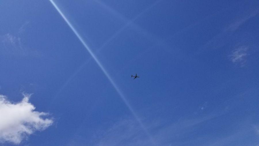 Sun Rays Sunshine Blue Sky Cloud Airplane Flying Plane Blue Sky Flight