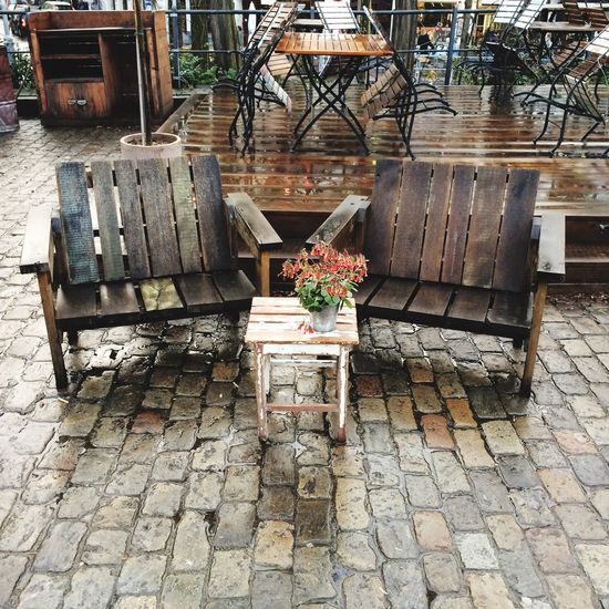 Here Belongs To Me This Week On Eyeem Chairs Mood Rainy Days Rain Spring Springtime Just The Two Of Us Wood Wooden Chair Flowers Double