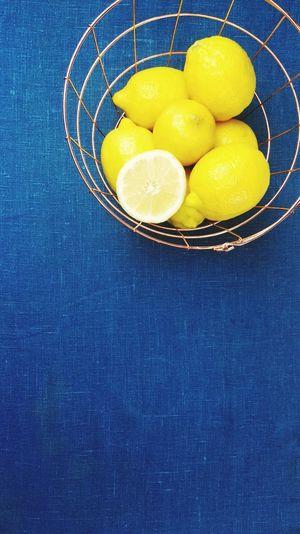 Lemons Lemon Basket Blue Summer Table Freshness Fruit Fruits Citrus Fruit Citrus Fruits Lemonade Yellow Blue Table Wire Basket Minimalism Minimalistic Minimal Cooking Gold Golden Copper  Kitchen Lush Juice