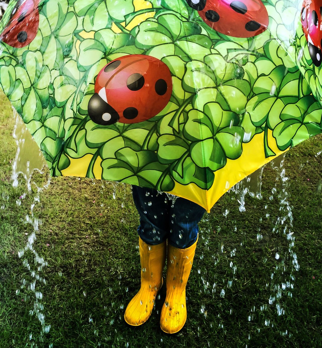 Close-up of woman in wellington boots holding umbrella on grassland