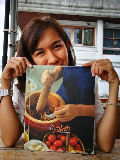 Eating out Smartphonephotography Huaweiphotography Eating Out Good Food Papaya Salad Place To Be  Adult Adults Only Fruit People Day Lifestyles Freshness Food Young Women Outdoors Real People Looking At Camera Portrait Holding Close-up Love Yourself