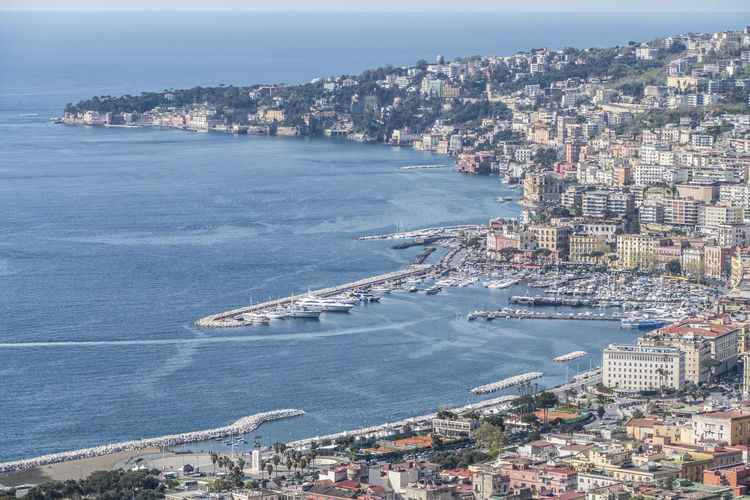 Aerial view of naples and posillipo
