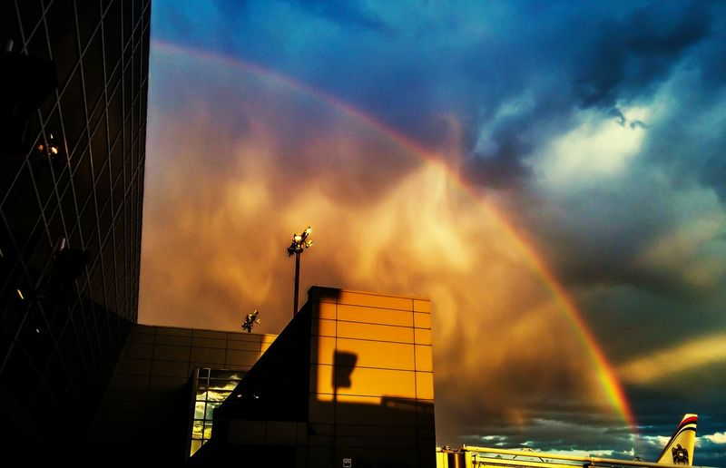 I was at work as it began to rain and spotted this rainbow with a somewhat dramatic skysc ape. Open Edit Rainbow Sky Dfw International Airport Sky_scapes Sunset_collection Sun Set Urban Photography Daily Travel