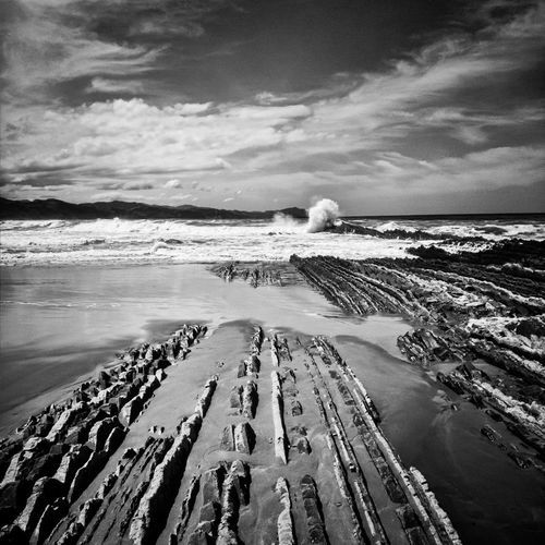 Flysch rock formations at zumaia beach