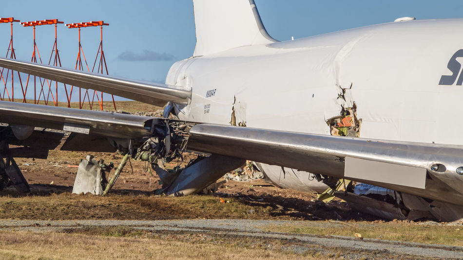 A SkyLease Cargo plane skidded off a runway at Halifax Stanfield International Airport and stopped near a road early on Wednesday, Nov. 7, 2018. The crew was taken to hospital and released. Cargo Plane Plane Crash Site Plane Crash Hanging Out Airplane Damaged 747 Plane Jetty Engineering Broken Transportation Day Air Cargo Air Carrier