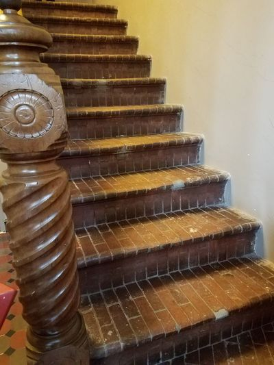 Staircase Indoors  Made Of Bricks Banister Old Building  By John