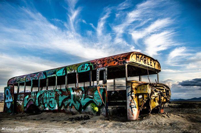 the bus Desert Photographer Ditigalphotography Schoolbus Bus EyeEm Selects EyeEmNewHere NewToEyeEm EyeEm Gallery EyeEm Best Shots Acertainslantoflight Toldwithexposure Sand Sky Street Art Graffiti Abandoned Mural Weathered